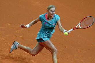 Российская теннисистка Екатерина Макарова во время матча на грунтовом корте
