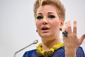 Мария Максакова на пресс-конференции в Киеве, 2017 год