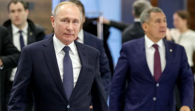 Президент России Владимир Путин и президент Татарстана Рустам Минниханов во время встречи, 13 февраля 2019 года