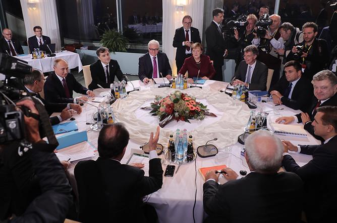Во время встречи лидеров стран «нормандской четверки» (Германия, Россия, Украина и Франция) в ведомстве федерального канцлера в Берлине