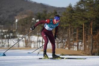 Российская спортсменка Анастасия Седова на дистанции гонки на 10 км свободным стилем среди женщин
