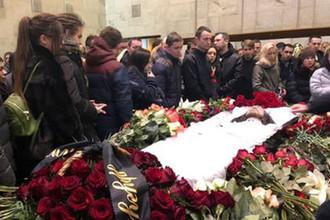 Церемония прощания с рэпером Кириллом Толмацким (Децлом) на территории ЦКБ Управления делами президента РФ, 6 февраля 2019 года