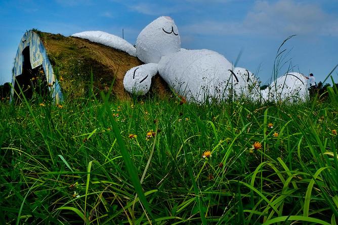 В 2011 году Хофман сделал большого желтого зайца для шведского городка Оребро. Зверек был собран из деревянной черепицы, которой в Швеции принято крыть крыши домов