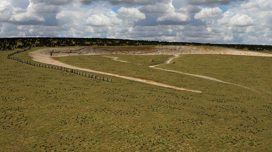 С-образная линия из 90 камней «второго Стоунхенджа». Компьютерная реконструкция.