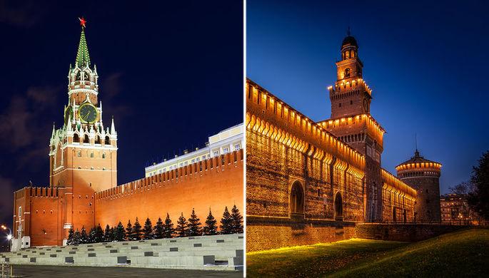 Московский Кремль и замок Сфорца в Милане