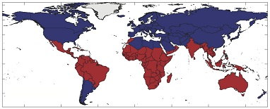 Красным отмечены страны, которые имеют климат, тесно связанный с Эль-Ниньо. Синим показаны страны, которые климат слабо подвержен влиянию Эль-Ниньо, то есть температура там не возрастает существенно в годы Эль-Ниньо, или регионы, где из-за явления Эль-Ниньо температура резко повышается, слабо заселены // Hsiang et al. Nature
