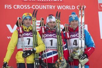Никита Крюков (первый справа) на подиуме этапа Кубка мира в Драммене