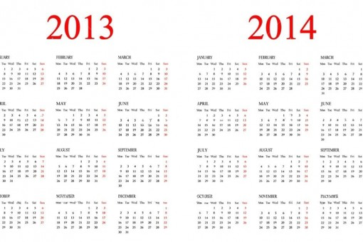 Set of Calendars Template for 2013-2014 years for design.  Stažení royalty-free Calendar 2013-2014. stock...
