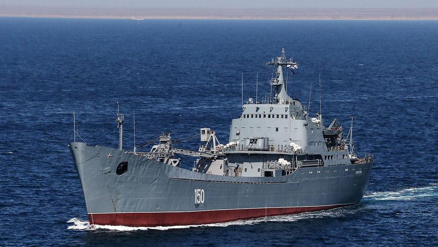Российский БДК Саратов направляется в сирийский порт Тартус через Средиземное море