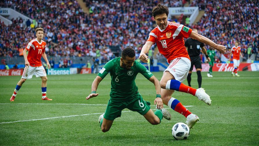 Во время матча между сборными России и Саудовской Аравии в рамках Чемпионата мира по футболу в Москве, 14 июня 2018 года