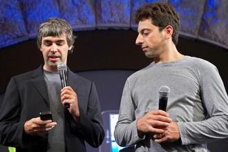 Ларри Пейдж и Сергей Брин во время презентации в Нью-Йорке, 2008 год