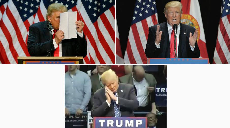 Трамп пародирует Хиллари Клинтон, Митта Ромни и Джеба Буша