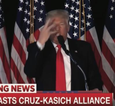 «Трамп изображает Кейсика, забрасывающего себе блинчик в рот»