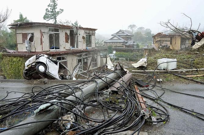Последствия тайфуна «Хагибис» к востоку от Токио, 12 октября 2019 года