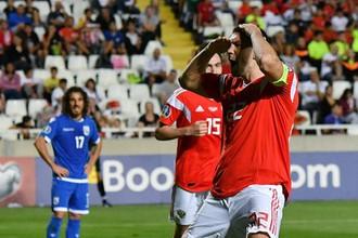 Артем Дзюба празднует гол в ворота Кипра