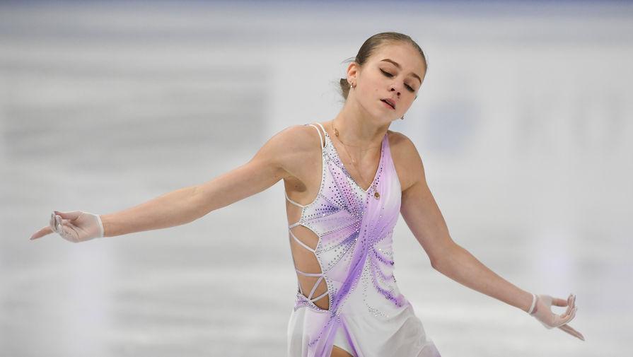 Александра Трусова на чемпионате мира по фигурному катанию в Стокгольме