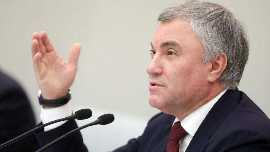 Володин призвал Украину остановить боевые действия в Донбассе