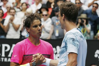 В матче с Томашем Бердыхом (справа) Рафа Надаль не смог показать свой лучший теннис