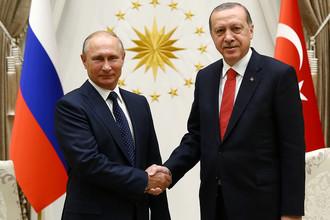 Владимир Путин и Реджеп Эрдоган во время встречи в Анкаре, 28 сентября 2017 года