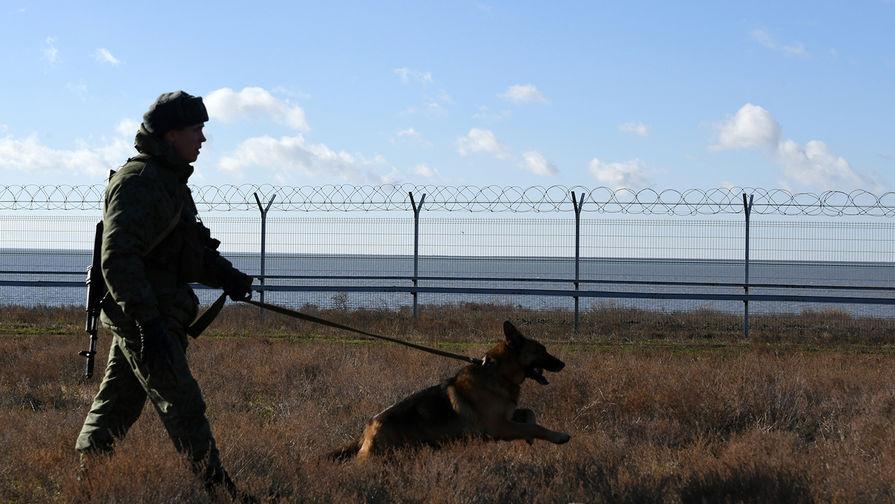 Российский пограничник со служебной собакой у заграждения, возведенного в Крыму на границе с Украиной, 28 декабря 2018 года
