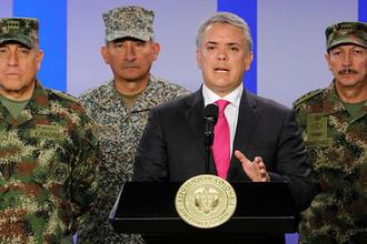 Президент Колумбии Иван Дуке во время пресс-конференции в Боготе, февраль 2019 года
