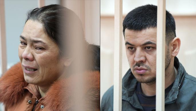 Шохиста Каримова и Содик Ортиков в Басманном районном суде Москвы, 7 апреля 2017 года