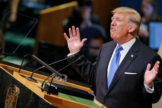 Президент США Дональд Трамп во время обращения к участникам Генассамблеи ООН в Нью-Йорке, 19 сентября 2017 года