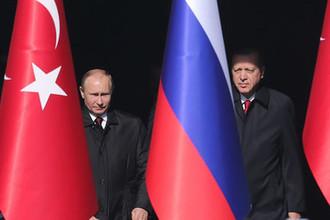 Президент России Владимир Путин и президент Турецкой Республики Реджеп Тайип Эрдоган во время встречи в Анкаре, 3 марта 2018 года