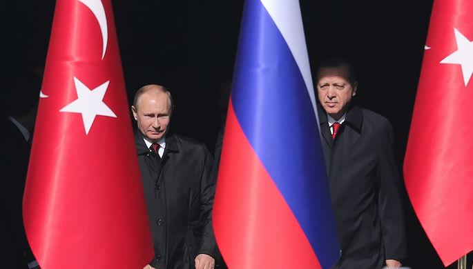 Президент России Владимир Путин и президент Турецкой Республики Реджеп Тайип Эрдоган во время...