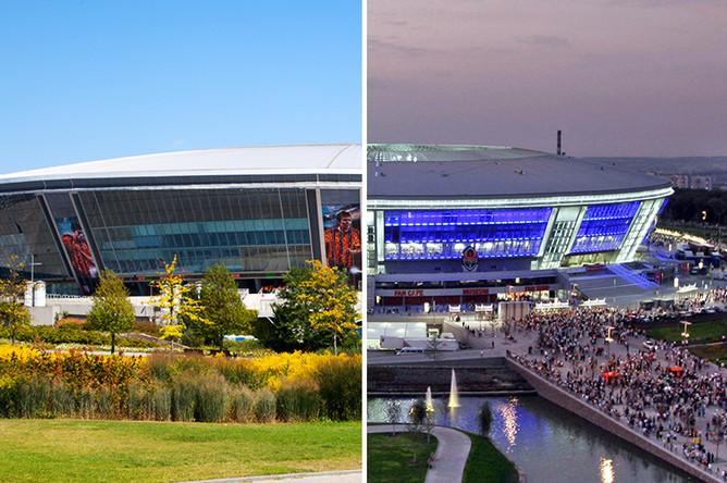 Слева: «Донбасс Арена» в августе 2016 года, справа: открытие стадиона в августе 2009 года