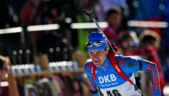 Ирина Старых на чемпионате мира по биатлону в австрийском Хохфильцене.