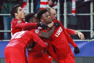 Футболисты «Спартака» в матче Лиги чемпионов