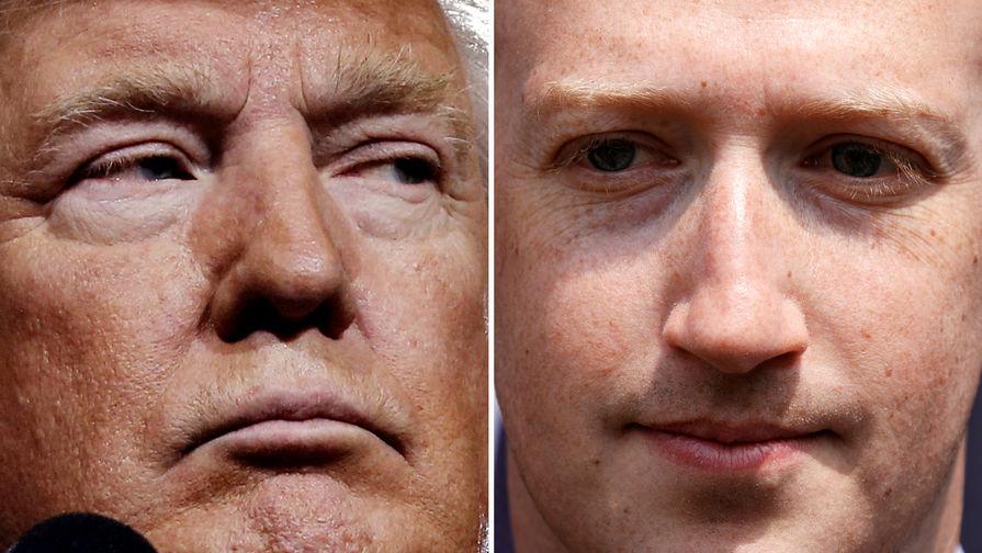 Президент США Дональд Трамп и глава Facebook Марк Цукерберг, коллаж «Газеты.Ru»
