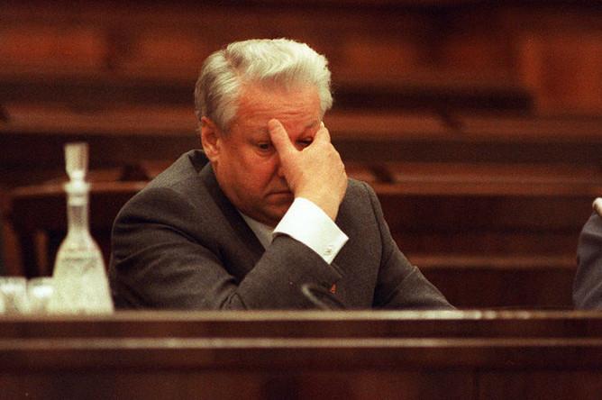 Президент России Борис Ельцин в Кремле, 1990 год