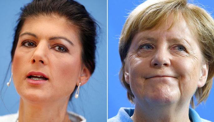 Сара Вагенкнехт и Ангела Меркель