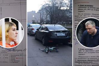 Подсудимая Ольга Алисова и отец сбитого мальчика Роман Шимко, фото с места ДТП и страницы экспертизы, коллаж «Газеты.Ru»