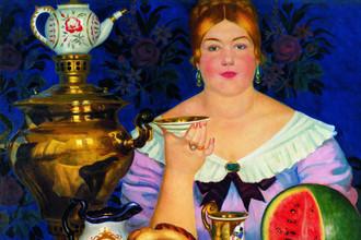 Борис Кустодиев. Купчиха, пьющая чай. 1923