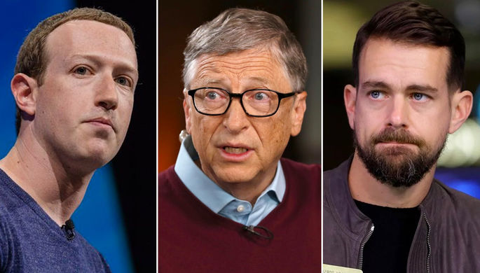 Марк Цукерберг, Билл Гейтс и Джек Дорси (коллаж)