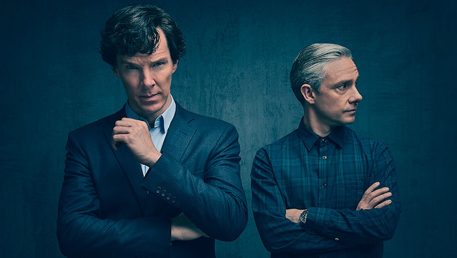 Бенедикт Камбербэтч и Мартин Фримен на съемках четвертого сезона сериала «Шерлок»