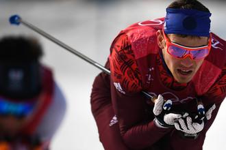 Андрей Ларьков на дистанции эстафеты 4x10 км среди мужчин в соревнованиях по лыжным гонкам на XXIII зимних Олимпийских играх