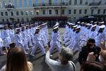 Во время Главного военно-морского парада в честь Дня Военно-Морского Флота России, 26 июля 2020 года