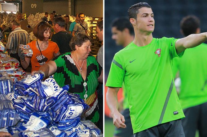 Слева: раздача гуманитарной помощи на «Донбасс Арене» в августе 2016 года, справа: Криштиану Роналду на тренировке перед полуфинальным матчем чемпионата Европы по футболу – 2012 между сборными командами Испании и Португалии