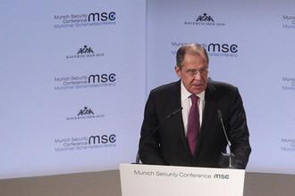 Министр иностранных дел РФ Сергей Лавров во время выступления в рамках Мюнхенской конференции по безопасности, 16 февраля 2019 года