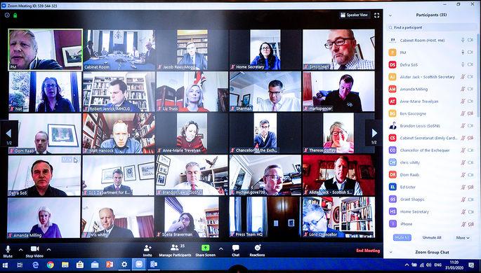 Виртуальная встреча премьер-министр Великобритании Бориса Джонсона с членами кабинета министров, 31 марта 2020 года