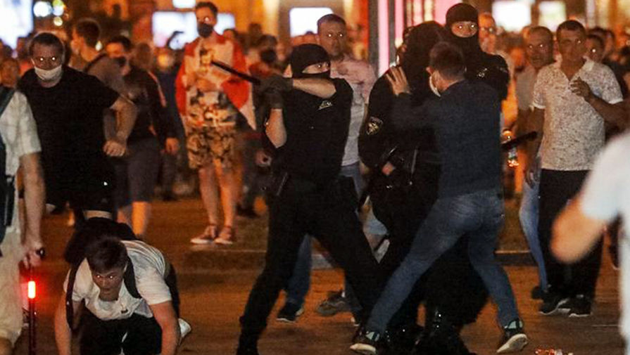 Во время протестов в Минске 10 августа 2020