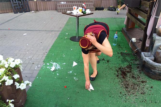 Последствия столкновений фанатов в центре Киева