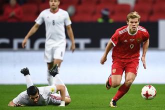 Александр Кокорин в матче сборной России против Ирана