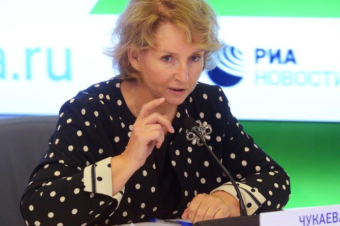 Ирина Чукаева во время пресс-конференции в Москве, сентябрь 2017 года
