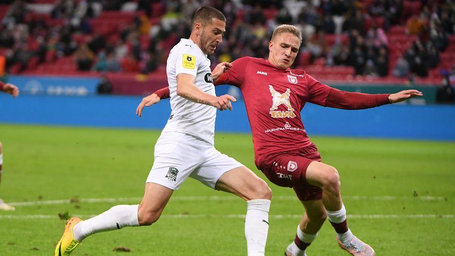 Фрагмент матча «Рубин» — «Краснодар»