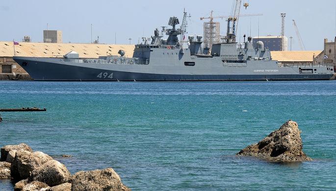 Российский боевой корабль «Адмирал Григорович» в Порт-Судане, 5 марта 2021 года